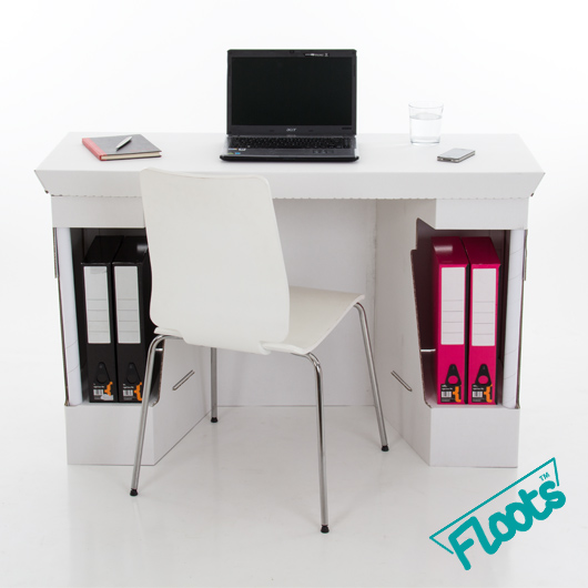 Corrugated Cardboard Floots Desk in White