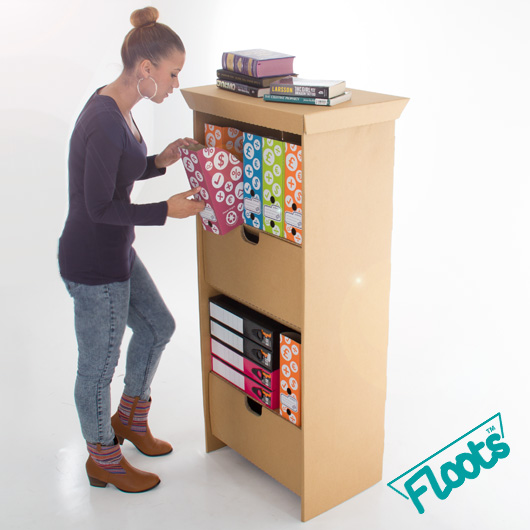 Cardboard Furniture. Tall Drawer Unit in brown cardboard from Floots