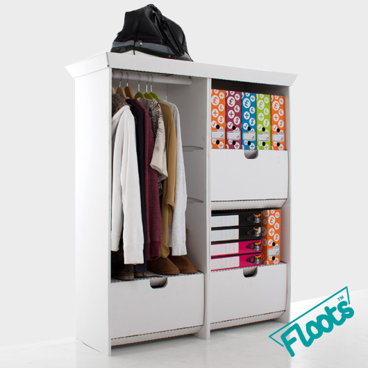 Wardrobe and Tall Draw Unit Combo pack in white