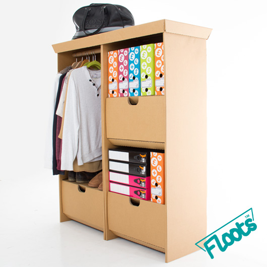 Floots Value Pack, contains a wardrobe and tall drawer unit, made from brown corrugated fibreboard.