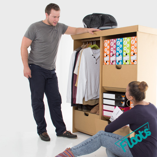 Cardboard Furniture Multibuy. Wardrobe Unit and Tall Drawer Unit in one value pack.