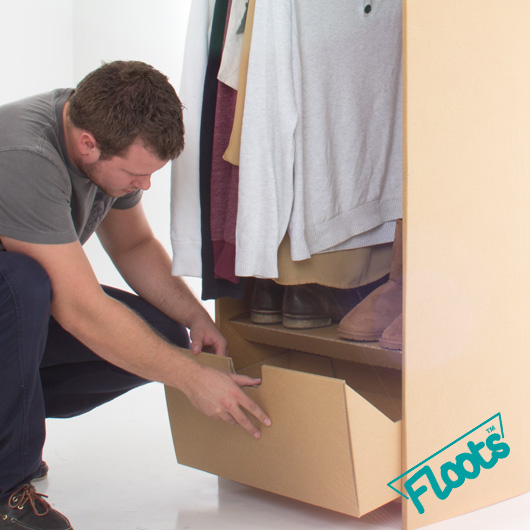 Wardrobe units in brown board from floots.