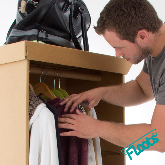 Cardboard Wardrobe with Hanging rail from Floots.