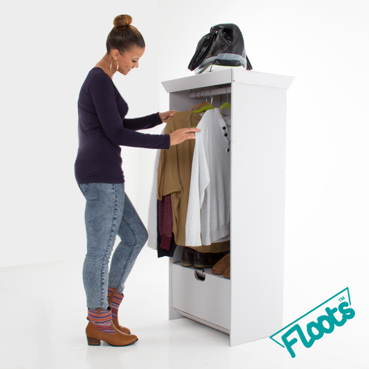 White corrugated cardboard wardrobe unit from Floots